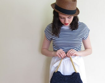 Vintage 1950s Navy Blue Hand Bag Gold Chain Strap / 50s Crochet Straw Weave Purse Morris Moscowitz MM