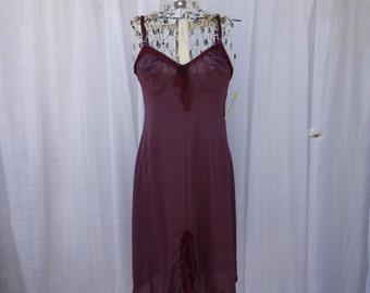 Slip Dress P/32 Small Burgundy Maroon Wine Rose Glam Garb Handmade USA Romantic Nightgown Victorian Steam-punk Vintage Hand Dyed Rockabilly