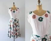 1940s Autumn Forest linen floral dress / 40s Carole King