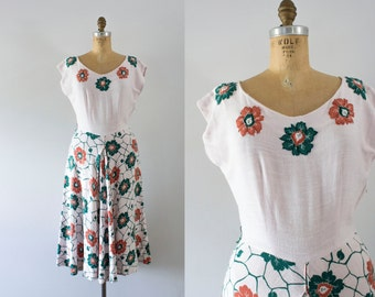 1940s Autumn Forest linen floral dress / 40s Carole King