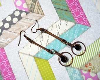 Black and Copper Earrings (2352)