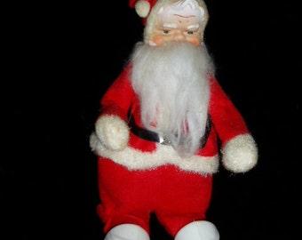 "60s Japan Rubber Face Santa Figure 12"" Retro Christmas Decor"