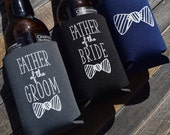 Father of the Bride, Father of the Groom Can Cooler Gifts, Custom Beer Hugger, Wedding Gifts, Father's Day Gifts for Dad
