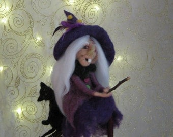 Halloween witch on broomstick with her cat needle felted Halloween decoration Mobile Waldorf inspired