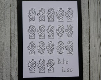Bake it so - A4 Kitchen Print - Kitchen Art - Baking Art - Pattern Print