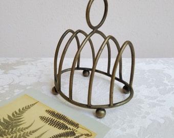 Vintage Brass Toast Rack Footed Metal Mail Letter Holder Organizer, Gothic Window Design