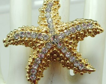 Gold Rhinestone Starfish Ring/Beach Jewelry/Gift For Her/Summer Jewelry/Statement Jewelry/Adjustable/Under 20 USD