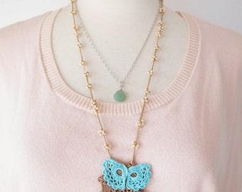 Irish Crochet Lace Jewelry (Irish Love 7-b) Fiber Art Necklace, Crochet Necklace, Double Necklace, Gemstone