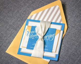 "Stiped Wedding Invitations, Yellow, Tan and Blue Invitations, Modern Beach Wedding - ""Sweeping Script"" Flat Panel, 2 Layers, v2 - SAMPLE"
