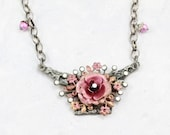 Pink Handpainted Rose Necklace, Gypsy Flower Necklace, Bohemian Layering Necklace,  Gilded Rose Collection, Flower Necklace - F7