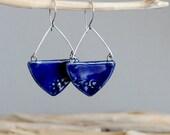 Ceramic earrings, Navy blue earrings, Artisan earrings, Geometric earrings, Drop earrings, Dangle earrings, Ceramic jewelry, Natural jewelry