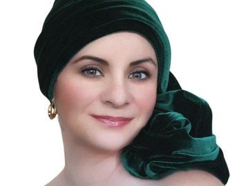 Emerald Green Velvet Turban, Head Wrap, Chemo Hat, Alopecia Scarf, Hat & Scarf Set 505-03
