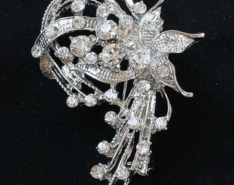Rhinestone Flower Brooch, Flower Pin, Lapel Brooch, Hat Pin, Vintage Style Brooch Item #10-12