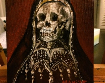 Santa Muerte Holy Death Religious Skull Original Oil Painting 5x5