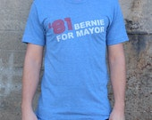 Bernie Sanders for Burlington Mayor '81 Faux Vintage American Apparel Athletic Blue Tri Blend Tee