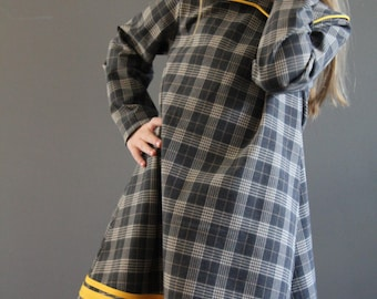 Sample SALE plaid Norah dress 6 ready to ship grey gray yellow play dress jumper 5y