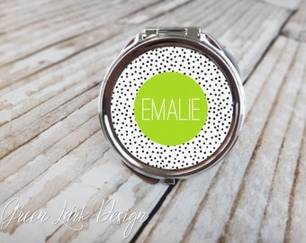 Personalized Bridesmaid Compact Mirror - Speckled Dot with Modern Lettering