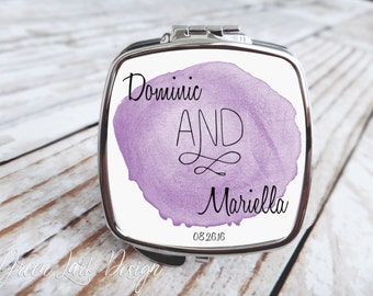 Personalized Bride and Groom Compact Mirror - Watercolor Swirl in Purple