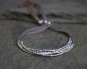 Pure Silver tiny beaded bracelet,  silver beads bracelet, pure silver faceted beaded bracelet, tiny silver bracelet, simple silk bracelet