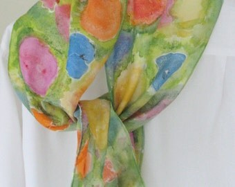 Hand painted silk scarf colourful floral design Canadian scarf