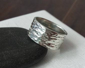 Extra Wide Silver Ring with Hammered Texture - Recycled Silver Wedding Band, Cigar Ring, Men's Ring, Rough Band Ring