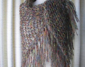 RAIN FOREST: Hand Knit SHAWL Triangle Scarf Moonlight Mohair / Luxurious Gift