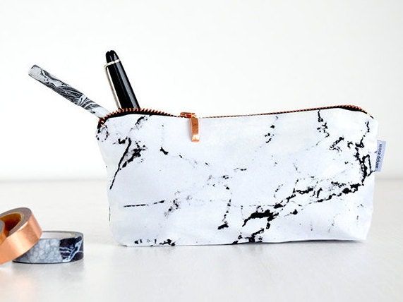 Marble Bag Pencil Case Marble Makeup Bag Pouch Case Rose