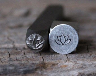 Lotus Metal Stamp-7mm Size-Steel Stamp-New Metal Design Stamps-by Metal Supply Chick-DCH70