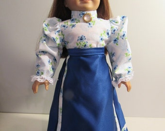 """Handcrafted blue victorian 2 piece skirt set, blue skirt and blue floral blouse fits dolls like American Girl and 18"""" dolls"""