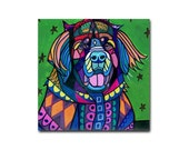 65% Off- Leonberger Leo Dog art Tile Ceramic Coaster Mexican Folk Art Print of painting by Heather Galler Dog