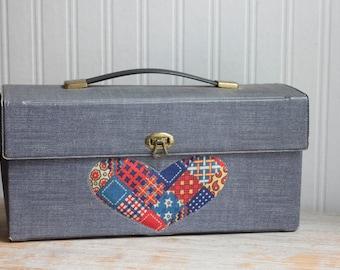 Vintage Vinyl 1960s Storage Box with Denim and Patchwork Heart, Crafty Supply Box or Girls Train Case, 60s Hippie Girl Gift