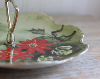 Vintage Lefton Christmas Tray, Poinsettia Tidbit in Red and Mint Green, China Cookie Plate, Limited Edition Xmas Lefton One Tier Tidbit 4391