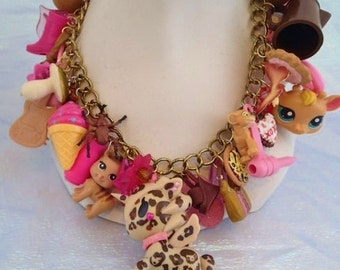 Toybox Kawaii Charm Necklace Loaded Brown and Pink Leopard Harajuku Princess Chocolate and Strawberries