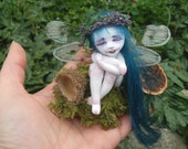"Ooak Fairy spirit of the forest  -Fairy Ghost- sculpted by hand ""Fairy Dolls"", ""collectible fairy dolls"",  ""polymer clay dolls"""