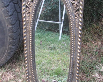 REDUCED SYROCO Style Ornate Spanish Patina Floral Scroll Columns Oval Wall MIRROR, Hollywood Regency