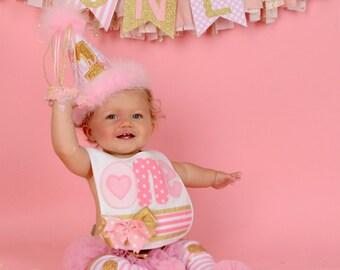 Pink and gold, 1st birthday girl bib, ONE bib, girl bibs, cake smash bib, first birthday bib, embroidered