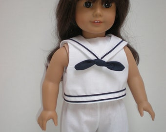 SLEEVELESS CROPPED TOP (White w/ Nay Trim) Sailor Collar** 18 inch doll clothes