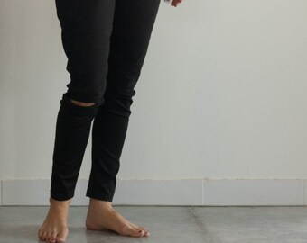 women black stretch drill fabric pants, open knee, Mammy and me, Mother's Day.