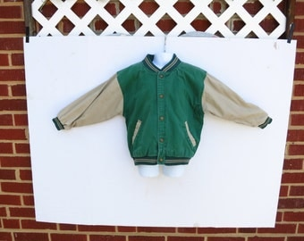 Vintage Boys Baseball Jacket Green and Off White Size 4