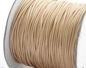 Champagne waxed polyester cord - 1mm wax polyester cord - 10m