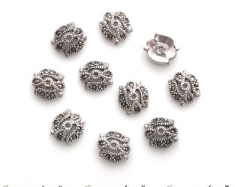 2 Sterling silver bead caps with marcasites for 10-12mm beads - ornate Bali bead caps - bmc005