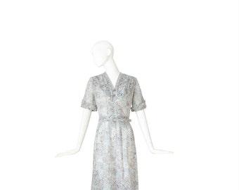1940s Dress • 40s Day Dress • Artsy Print • Medium Large M / L
