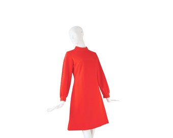 1960s Mod Dress • 60s Red Dress • Twiggy • M / L Medium Large