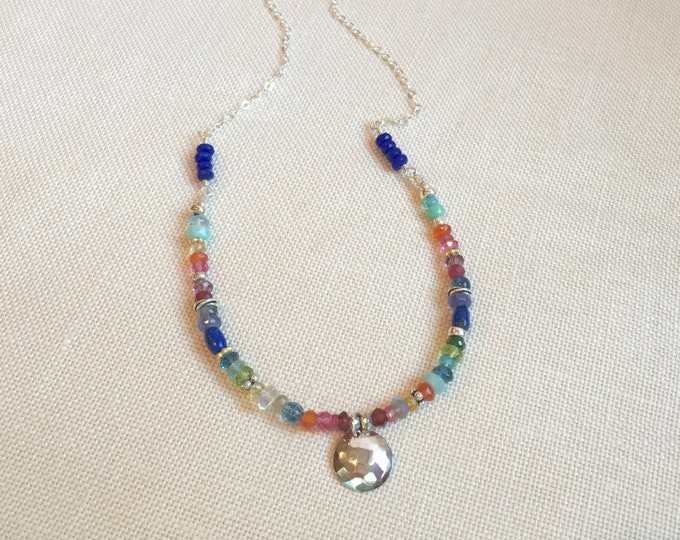 Colorful Gemstone Necklace with Hammered Silver