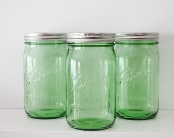 6 GREEN MASON Jar 32 oz Jar Canning Jars Rustic Vintage Wedding Lime Emerald Green St Patricks Day Ball Quart Candle Holder