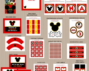 Mickey Mouse Bithday Party Printables Package, Printable Mickey Mouse Decorations, PRINTABLE, PERSONALIZED
