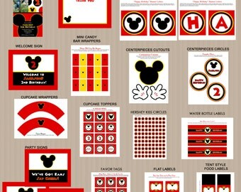 Mickey Mouse Bithday Party Printables, Printable Mickey Mouse Decorations, Red, Black, Invitation Included, Printable PDFs