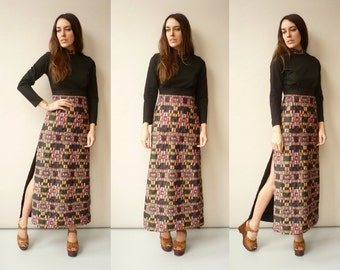 1970's Vintage Hippie Psychedelic Print Quilted Maxi Dress Size XS