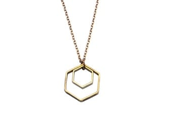 Brass Honeycomb necklace - hexagon necklace, modern geometric necklace, everyday necklace Bey Hive honey comb