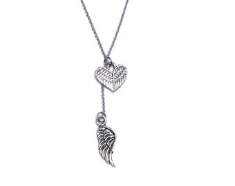 Dainty Heart & Wing Lariat Necklace, Angel Charm, Y- Style Chain, Valentines Day Jewelry Gift